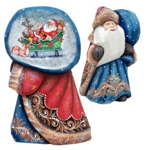 G.Debrekht G.DeBrekht Woodcarved and Hand Painted Santa Enjoy The Moment Figurine with Bag