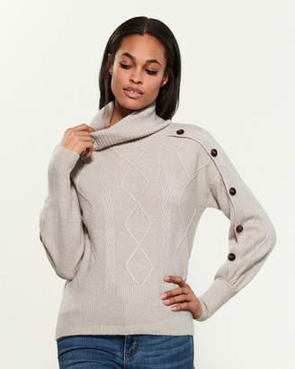 Design History Long Button Sleeve Turtleneck Sweater