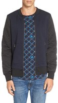 Scotch & Soda Men's Knit Zip Bomber Jacket With Quilted Sleeves