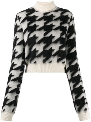 Nina Ricci Cropped Houndstooth Knit Jumper