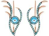 Rosegold Latelita Evil Eye Ear Climber Turquoise
