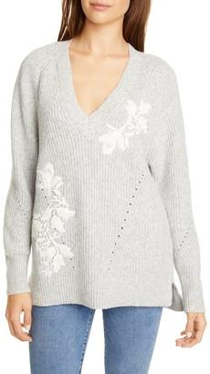 Rebecca Taylor Applique V-Neck Pullover Sweater