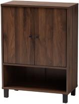 Design Studios Rossin Walnut Brown Finished 2-Door Wood Entryway Shoe Storage Cabinet