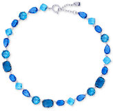 Lauren Ralph Lauren Silver-Tone Blue Crystal All-Around Collar Necklace