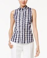 Tommy Hilfiger Cotton Gingham-Print Ruffled Shirt