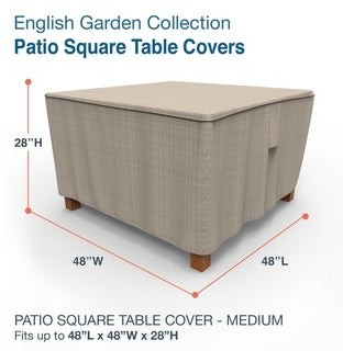 Budge Waterproof Outdoor Square Patio Table Cover, English Garden, Tan Tweed, Multiple Sizes
