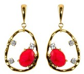 Gottex 18k Plated Coral & Crystal Irregular Circle Drop Earrings.