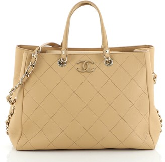 Chanel Side Chain Shopping Tote Quilted Bullskin Medium