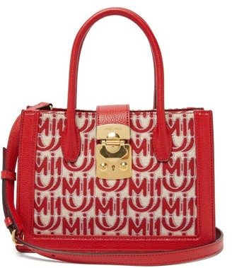 Miu Miu Madras Small Logo-jacquard Leather-trim Bag - Womens - Red White