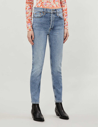 RE/DONE High-rise tapered stretch-denim jeans