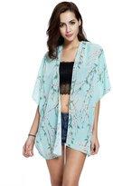 Doinshop Women Boho Floral Print Chiffon Loose Shawl Kimono Cardigan (XL, )