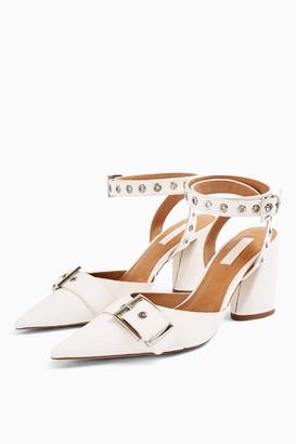 Topshop Womens Fiji White Stud Block Shoe Boots - White