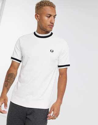 Fred Perry raglan thick contrast rib t-shirt in white