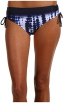 MICHAEL Michael Kors Villa Tie Dye Shirred Hipster Bikini Bottom (Washed Indigo) - Apparel