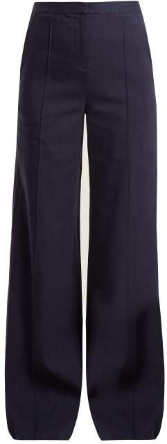 Diane von Furstenberg High Rise Wide Leg Crepe Trousers - Womens - Navy