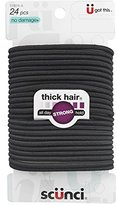 Scunci Effortless Beauty Thick Hair No-damage Black Elastics, 24 Count