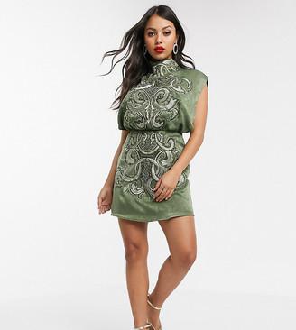 Asos DESIGN Petite high neck embroidered mini dress in satin