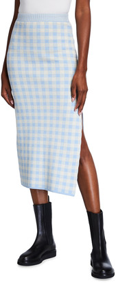 Altuzarra Billie Gingham Cotton Midi Skirt