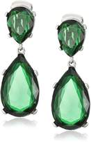 Kenneth Jay Lane Emerald-Color Teardrop Silver Clip Earrings