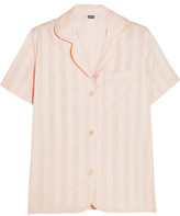 Bodas Shadow Stripe Cotton-Gauze Pajama Top