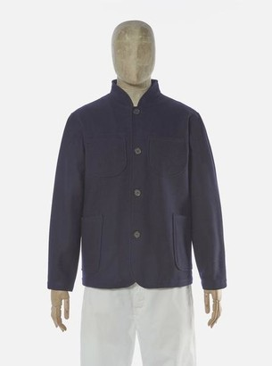 Universal Works Nehru Jacket In Navy Melton - M