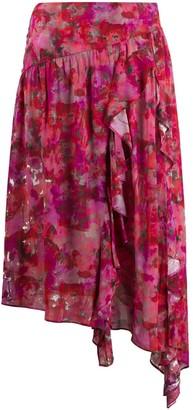 IRO Arun floral-print midi skirt