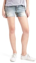 Destructed inset panel stretch summer shorts
