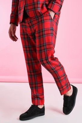 boohoo Mens Red Big And Tall Skinny Fit Cropped Tartan Trouser, Red
