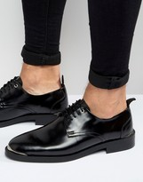 Asos Lace Up Shoes In Black Leather