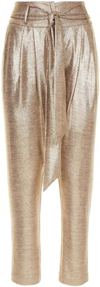 Traffic People Colby Peg Leg Metallic Trousers In Gold