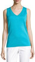 St. John Milano Knit V-Neck Shell, Turquoise