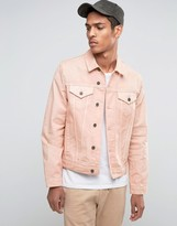 Asos Slim Denim Jacket In Washed Pink