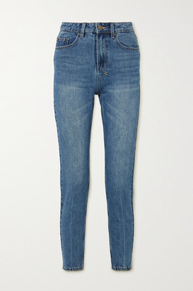 Ksubi Slim Pin Cropped High-rise Slim-fit Jeans - Mid denim