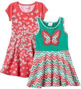 Nannette Toddler Girl Chevron & Butterfly Knit Skater Dress Set