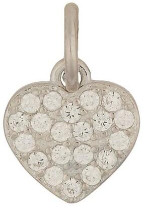 Mocha Sterling Silver Cubic Zirconia Heart Charm - Silver