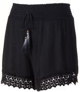 Mudd Juniors' Crochet-Hem Soft Shorts