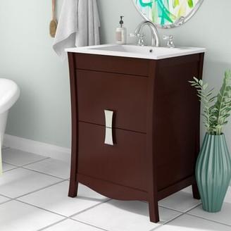 "Ebern Designs Karter Wood Floor Mount 24"" Single Bathroom Vanity Set"