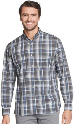 Van Heusen Men's Never Tuck Classic-Fit Plaid Heathered Button-Down Shirt