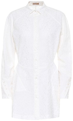 Alaia Embroidered wool-mousseline shirt