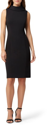Tahari Wraparound Collar Stretch Crepe Sheath Dress