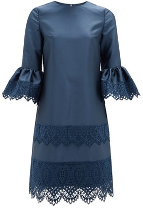 Erdem Elijah Guipure Lace-trimmed Fluted-sleeve Dress - Navy