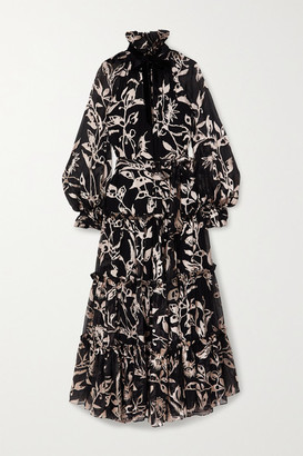 Zimmermann Ladybeetle Tie-detailed Tiered Devore-chiffon Maxi Dress - Black
