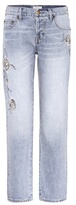 Current/Elliott The Crossover embroidered cropped jeans