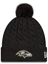New Era Women's Black Baltimore Ravens Paradigm Cuffed Knit Hat with Pom