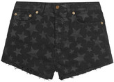 Saint Laurent Cut-off Printed Stretch-denim Shorts - Midnight blue