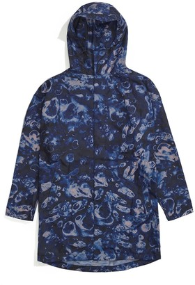 Ponch Raincoat In Blue 'Midnight Ocean' Print