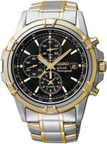 Seiko Mens Two-Tone Brown Dial Chronograph Watch SSC142