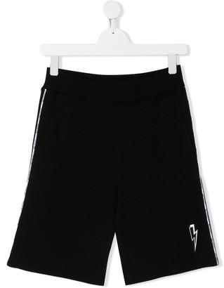 Neil Barrett Kids relaxed fit lightning bolt logo shorts