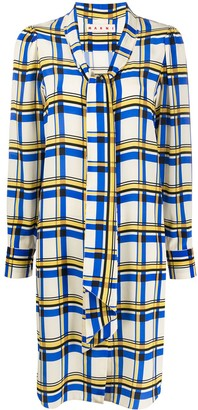 Marni Check Front Tie Dress