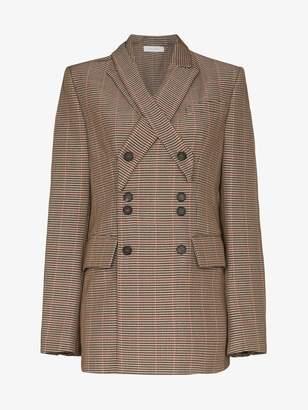 Delada check double-breasted button blazer